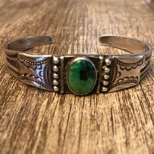 Jewelry - Vintage Navajo turquoise and silver cuff bracelet